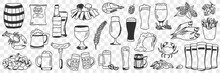 Beer And Snacks Doodle Set. Collection Of Hand Drawn Various Appetizers Shrimps Chips Crab Fish Sausage Nuts For Beer Drinks In Rows Isolated On Transparent Background