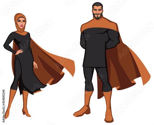 Fotografie, Obraz Middle Eastern Superhero Couple on White