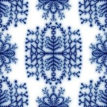 Seamless Classic Blue And White Ceramic Design. High Quality Illustration. Decorative Design Of Cobalt Blue Glaze On Porcelain For Transfer Onto Kitchen Ware Or Printing For Modern Surface Design.