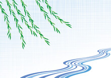日本の伝統的な揺れるしだれ柳と水流文様. ベクター背景素材