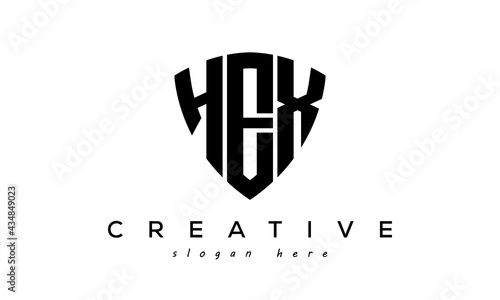 Fotografiet HEX letter creative logo with shield
