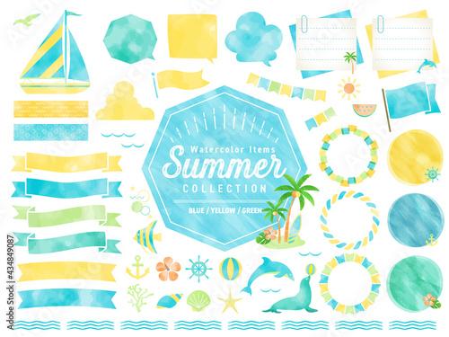 Fototapeta 夏、水彩、ビーチ、フレーム、海、イラスト、吹き出し / 自然、風景、生き物