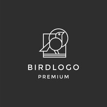Abstract Bird Logo Design. Creative Eagle Outline Symbol. Linear On Black Background