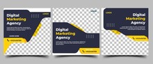 Set Of Social Media Post Templates For Business Promotion. Modern Banner With A Black Background And Yellow Accents.