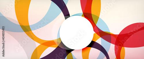 Billede på lærred Ring geometric shapes, o letter repetition wallpaper
