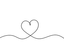 Abstract Hearts As Continuous Line Drawing On White As Background