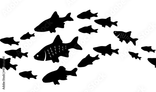 Fotografiet Silhouettes of groups of  fishes on white. Seamless background