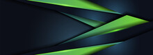 Futuristic Navy And Green Shape Combination Background Design.