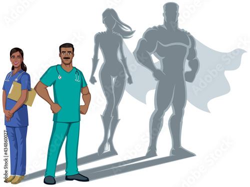 Fotografie, Obraz Indian Nurse Superheroes Shadow
