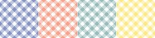 Vichy Check Pattern Set In Blue, Coral, Yellow, Green, White. Seamless Spring Summer Gingham Backgrounds For Easter Wallpaper, Picnic Blanket, Tablecloth, Oilcloth, Other Modern Fashion Fabric Print.