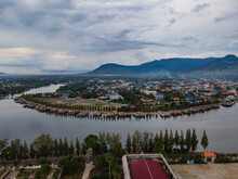 Stunning Shots By Drone From Kampot City In South Of Cambodia, Amazing Old Architecture Struggling With The Actual World
