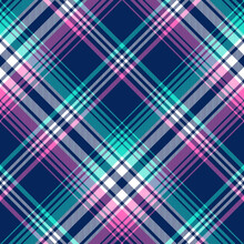 Plaid Pattern Tartan In Blue, Pink, Green, White. Seamless Colorful Check Plaid Texture Background For Womenswear Summer Flannel Shirt, Skirt, Blanket, Duvet Cover, Other Modern Fashion Fabric Design.