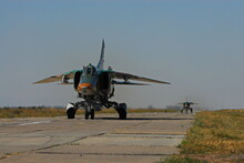 Almaty Region, Kazakhstan - 09.14.2010 : A Military Fighter Plane Is Preparing To Take Off From The Runway At The Base.