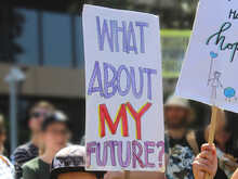 """School Strike For Climate Action – Protest Sign Reading """"What About My Future?"""". Sydney Australia"""