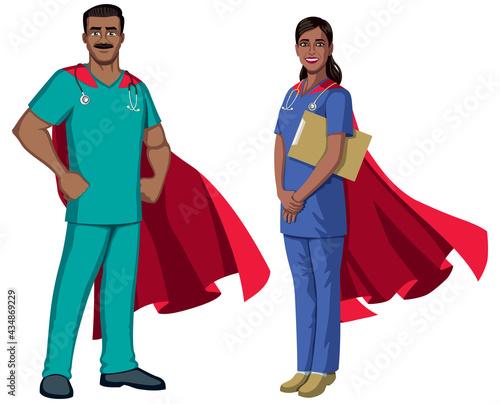 Obraz na plátně Indian Nurse Superheroes on White
