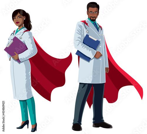 Fotografie, Obraz Indian Doctor Superheroes on White