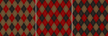 Argyle Pattern Seamless In Burgundy Red, Brown Gold, Black. Autumn Winter Dark Rhombus Classic Graphic Vector Background For Gift Paper, Sweater, Jumper, Socks, Other Modern Fashion Textile Print.