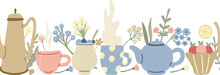 Herbal Tea Seamless Border With Lemons, Teapots, Fruit Desserts, Wild Flowers And Mugs Of Tea. Summer Morning Mood. Hand Drawn Vector Illustration.