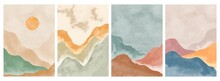 Natural Abstract Mountain On Set. Mid Century Modern Minimalist Art Print. Abstract Contemporary Aesthetic Backgrounds Landscape. Vector Illustrations