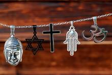Religious Symbols.  Christianity, Islam, Judaism, Buddhism And Hinduism. Interfaith Dialogue.