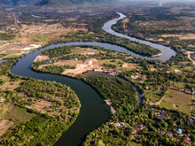 Beautiful Countryside Of Cambodia In Kampot Province Shot By Drone Photography.