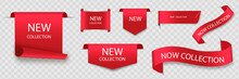 New Collection Tags. Vector Badges And Labels. Paper Ribbons.