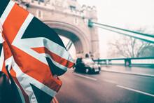 British Union Jack Flag Over Icons Of London