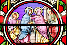 Sacre Coeur  De Castellane Church.  Stained Glass Window.  The Visitation Of The Blessed Virgin Mary Is The Visit Of Mary With Elizabeth As Recorded In The Gospel Of Luke.