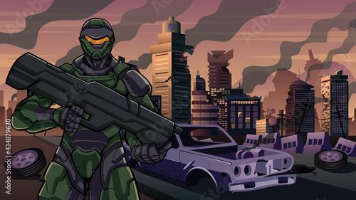 Fotografie, Obraz Futuristic Soldier in City in Ruins
