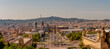 Leinwandbild Motiv Panoramic view over modern and old districts in historical downtown of Barcelona, Spain, cityscape, at summer sunset colors.