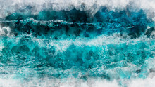 Abstract Blue Wave Ocean Watercolor Background. Artistic Painted Background For Design, Wallpaper, Texture. Modern Art. Contemporary Art.