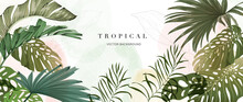 Abstract Art Tropical Leaves Background Vector. Wallpaper Design With Watercolor Art Texture From Palm Leaves, Jungle Leaves, Monstera Leaf, Exotic Botanical Floral Pattern.