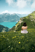 Rear View Of Woman Sitting On Grass Against Mountains And Sky