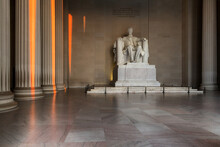 The Lincoln Memorial Inside In Morning Time In Washington, DC., USA.