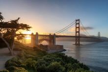 Sunset At Golden Gate Bridge In San Francisco, California