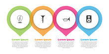 Set Treble Clef, Drum And Drum Sticks, Trumpet And Stereo Speaker. Business Infographic Template. Vector