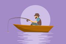 Man Fishing On Boat On A Lake Cartoon Vector Illustration