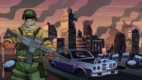 Obraz na plátně Soldier in City in Ruins