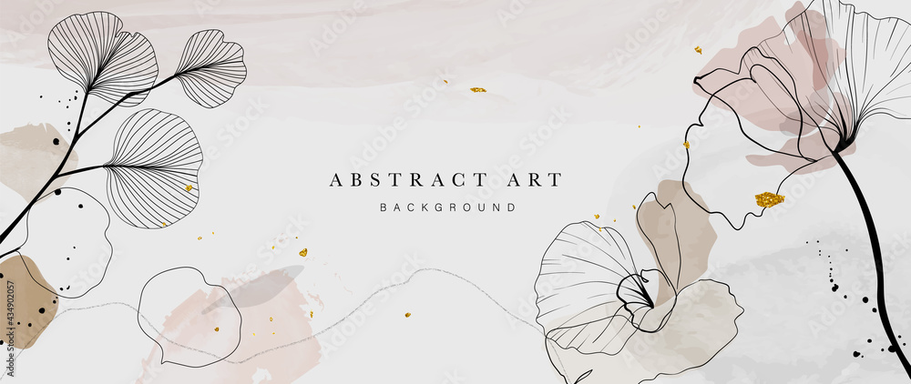 Abstract watercolor art background vector. Gingko and botanical line art wallpaper. Luxury cover design with text, golden texture and brush style. floral art for wall decoration and prints.  - obrazy, fototapety, plakaty