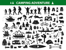 Camping Hiking Silhouette Collection Set. People Trekking, Navigating, Sitting At Campfire Tent, Kayaking, Rafting, Fishing, Mountain Biking. Campsite Gear, Equipment, Accessories: Backpack