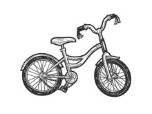 Broken Kids Bicycle Line Art Sketch Engraving Vector Illustration. T-shirt Apparel Print Design. Scratch Board Imitation. Black And White Hand Drawn Image.