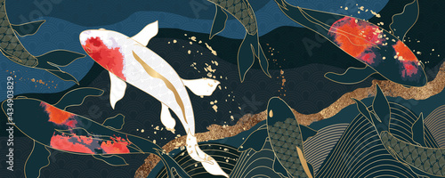 Fotografia Asian background ,Oriental Japanese style abstract pattern background design  wi