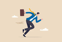 Business Motivation Or Agility, Success In Fast Change Business Competition, Career Challenge Concept, Confident Motivated Businessman Holding Briefcase Running With Full Effort To Win Competition.