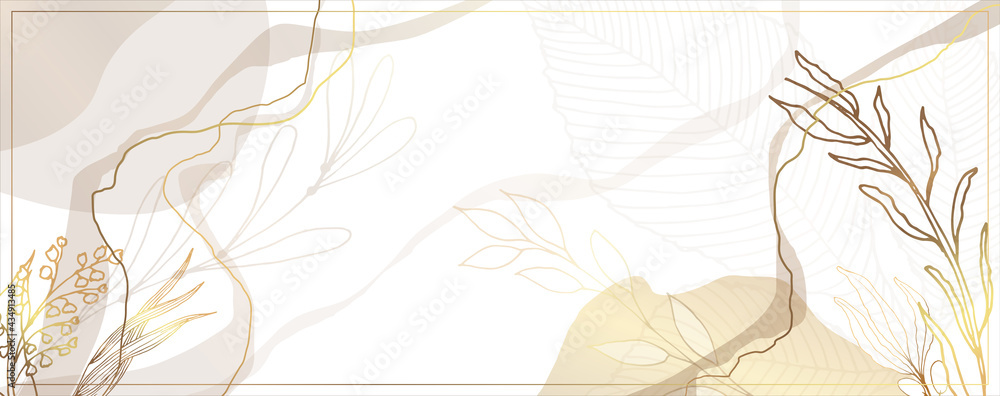 Luxurious golden wallpaper. White background. Gold leaves wall art with shiny golden light texture. Modern art mural wallpaper. Place for your text. Vector illustration. - obrazy, fototapety, plakaty