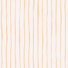 Seamless Pattern With Gold Hand Drawn Doodle Stripes On A Light Background. Yellow Texture With Bold Lines For Wrapping Paper, Covers And Fabric. Vintage Hippie Pattern In 70s Style.