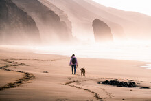 Young Woman Seen From Behind Walking Her Dog At The Beach. Roque Del Moro During Sunset At Cofete Beach In Fuerteventura