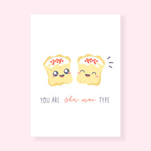 Dim Sum - Greeting Card. Cute Illustration With Shu Mai Dumplings In Kawaii Style. Vector Kawaii Art