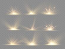 Star Explosion, Yellow Glow Lights Sun Rays.