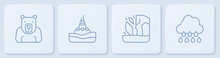 Set Line Polar Bear Head, Glacier Melting, Floating Buoy On The Sea And Cloud With Rain. White Square Button. Vector