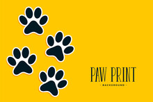 Paw Print Stickers On Yellow Background